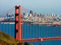 San Francisco Golden Gate bridge city view