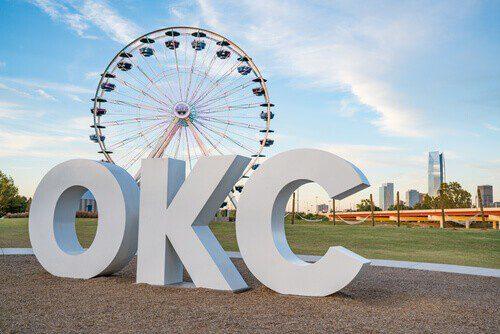 OKC sign and ferris wheel in Oklahoma City, Oklahoma