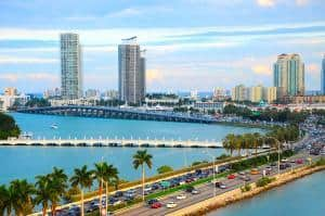 Miami Panorama With Car Traffic. Aerial View Miami Cityscape