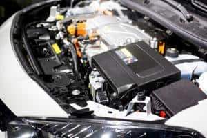 Detail of electric car engine