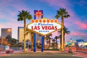 Las Vegas Nevada sign at dusk