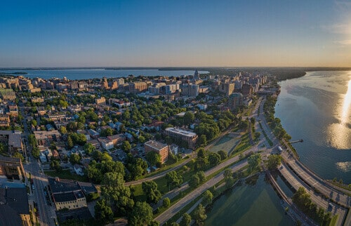 Aerial picture of downtown Madison Wisconsin