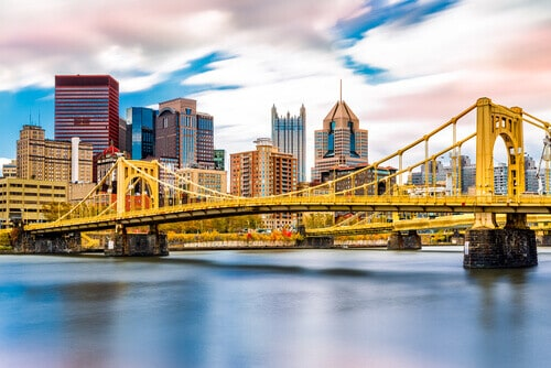 Rachel Carson Bridge (aka Ninth Street Bridge) in Pittsburgh, Pennsylvania