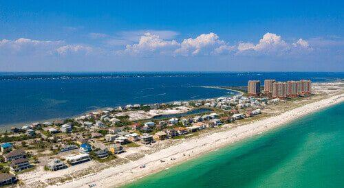 Pensacola Florida Beach Aerial View of Coastline